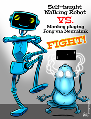 """Robot Vs. Monkey - FIGHT!"" DTNS 4/9/21 8.5 x 11 ArtProv Print"