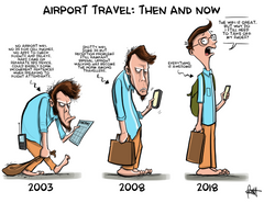 """Airport Travel: Then & Now"" DTNS Roundtable 1/26/17 8.5 x 11 Print"