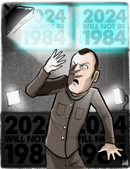 """2024 Will Not Be 1984"" DTNS 12/7/18 8.5 x 11 ArtProv Print"