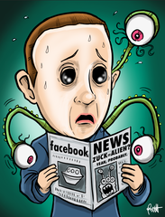 """Facebook The News"" DTNS 10/25/19 8.5 x 11 ArtProv Print"