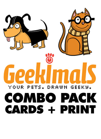 Geekimals Combo Pack (Print and Greeting Cards)