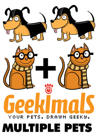Geekimals Custom Drawn 8.5 x 11 Print (Multiple Pets)