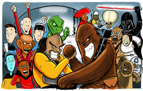 """Worf Vs. Chewbacca"" Limited Edtion Giclee Print (Unframed)"