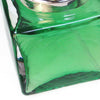 Heavy Emerald Colour Cube glass perfume atomizer with Sterling silver plated spray top image 2