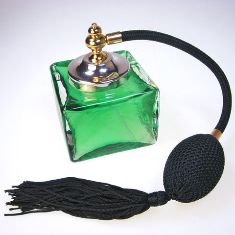 Heavy Emerald Colour Cube glass perfume atomizer with Sterling silver plated spray top