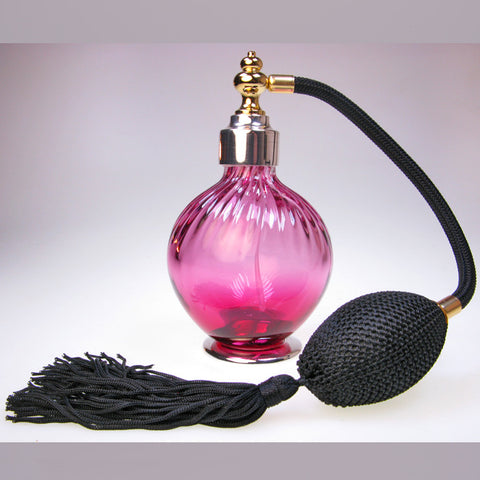 Cranberry Colour glass perfume atomizer with Sterling silver plated spray top and foot