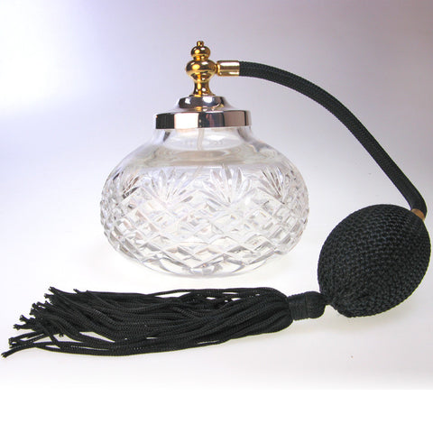 Quality heavy round cut glass perfume atomizer with silver plated spray top tassel