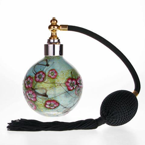 Summer blossom Special mouth blown glass perfume atomizer with Gold & Sterling silver plated spray top