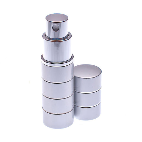 Silver 8ml atomizer with silver rings