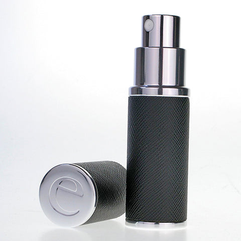 The Essential Atomizer Saffiano Real Leather Silver 8ml Fragrance Atomizer