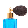 Tall Blue Ribbed Perfume Bottle with Bulb Atomizer 60ml image 2