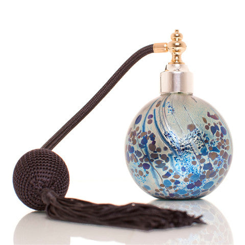 Mulberry mouth blown studio glass perfume atomizer with Gold & Sterling silver plated spray top