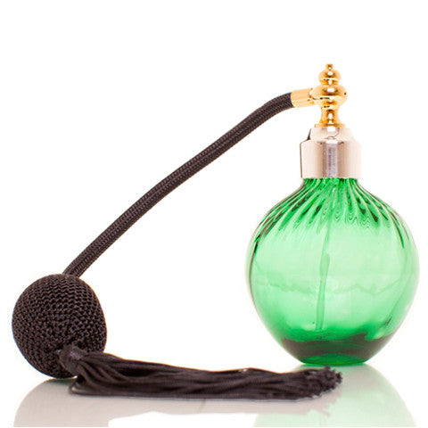 Emerald colour blown glass perfume atomizer with Sterling silver & Gold plated spray top