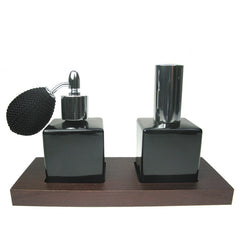 2 Piece black glass atomizer Set