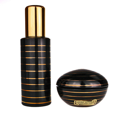 Hand Painted Black & gold stripe pattern atomizer & soap dish set