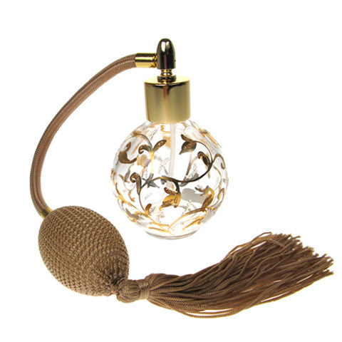 Hand painted round bottle perfume atomizer with Gold tassel