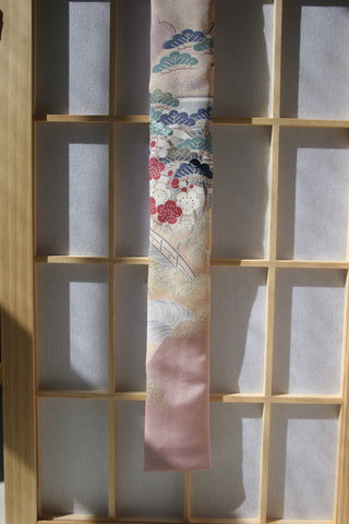 Dusty Rose with Japanese Scene Necktie