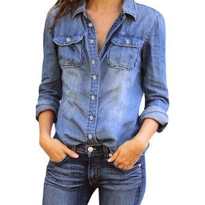 a3f8ebcd7c Feitong Turndown Collar Casual Blue Jean Denim Long Sleeve Shirt Fashion Womens  Tops Blouse Spring Jacket Chemise Femme