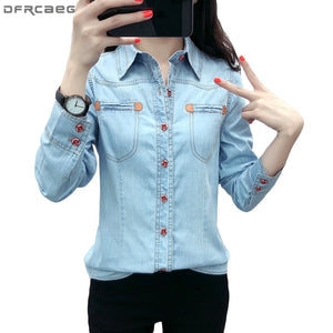 3d1410f2d3 2018 Autumn Casual Camisa Jeans Feminina Long Sleeve Denim Shirt Women Plus  Size Blouse Button Pockets Chemise Femme Ladies Tops