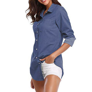 22ad26c4cf ISHOWTIENDA 2018 Women Clothing Women s Denim Solid Pocket Button Down Shirt  Long Sleeve Jeans Top BlouseShirt camisas feminina