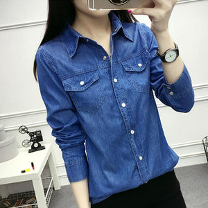 bb319f5569 Jeans Long Sleeve Spring Autumn Women Blouse Fashion Slim Denim Shirt Top  OL Office Female Clothing Denim Blusas