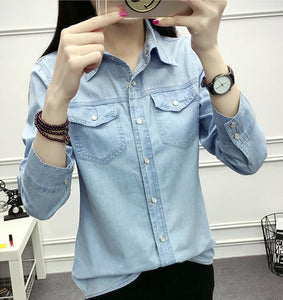 772992e0b3 Autumn Women Casual Jeans Long Sleeve Blouse Fashion Slim Denim Shirt tops  Office Female Clothing Denim blusas mujer
