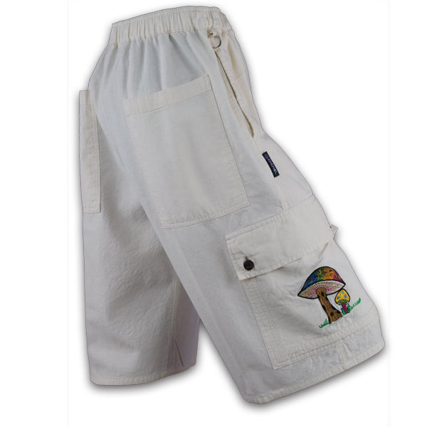 Natural Cotton Cargo Shorts with Mushroom embroidery