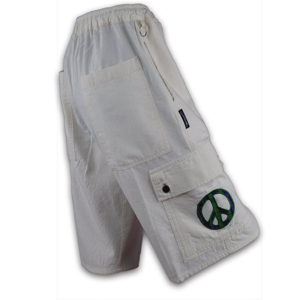 Natural Cotton Cargo Shorts with Peace embroidery