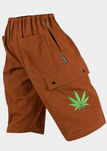 Cotton Cargo Short with Ganja Leaf Embroidery