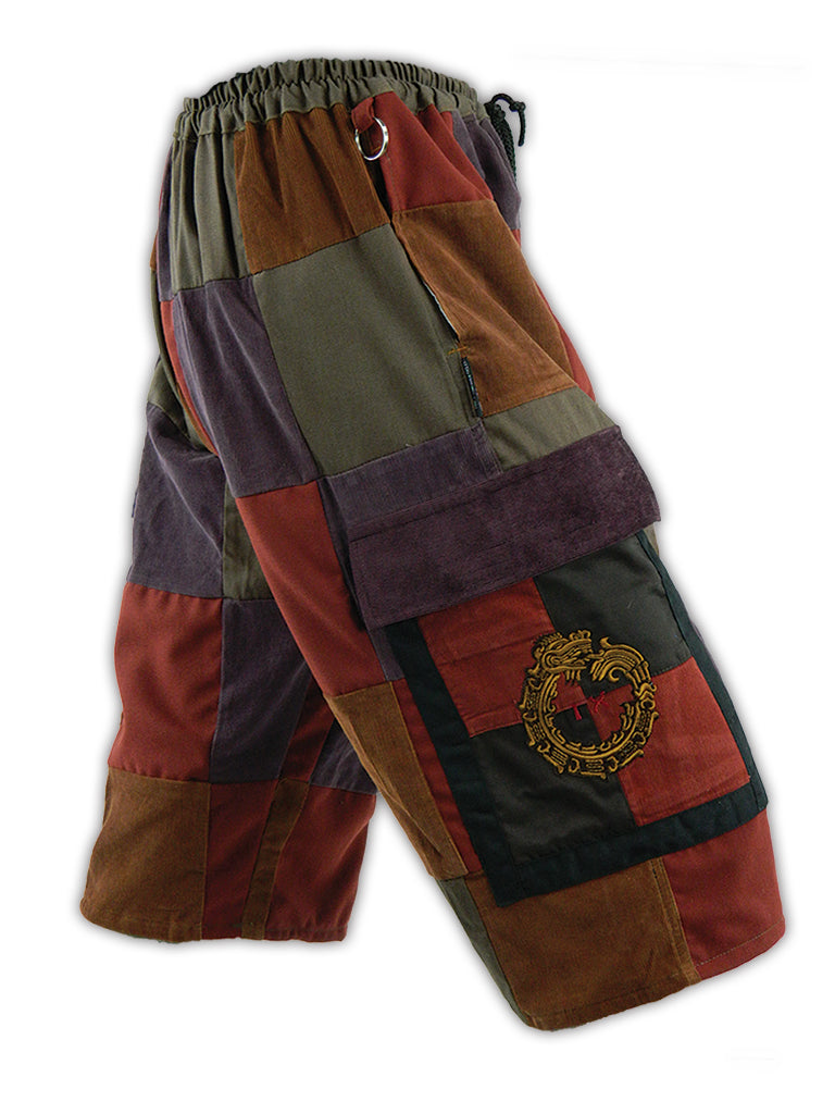 Classic Cargo Patchwork Shorts with Mayan Serpent embroidery
