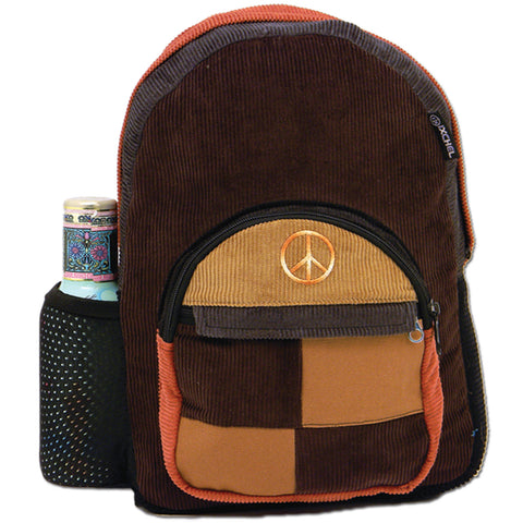 Patchwork Corduroy Backpack with Peace Sign Embroidery (Medium)