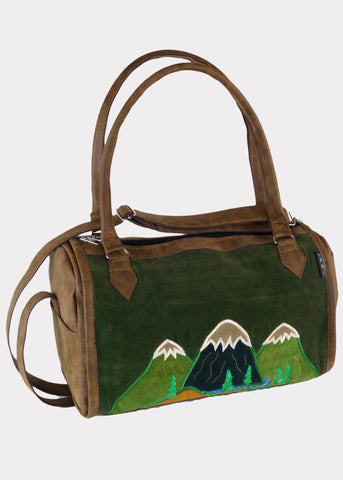 Faux Leather Doctor's bag with Mountainscape Applique & Embroidery