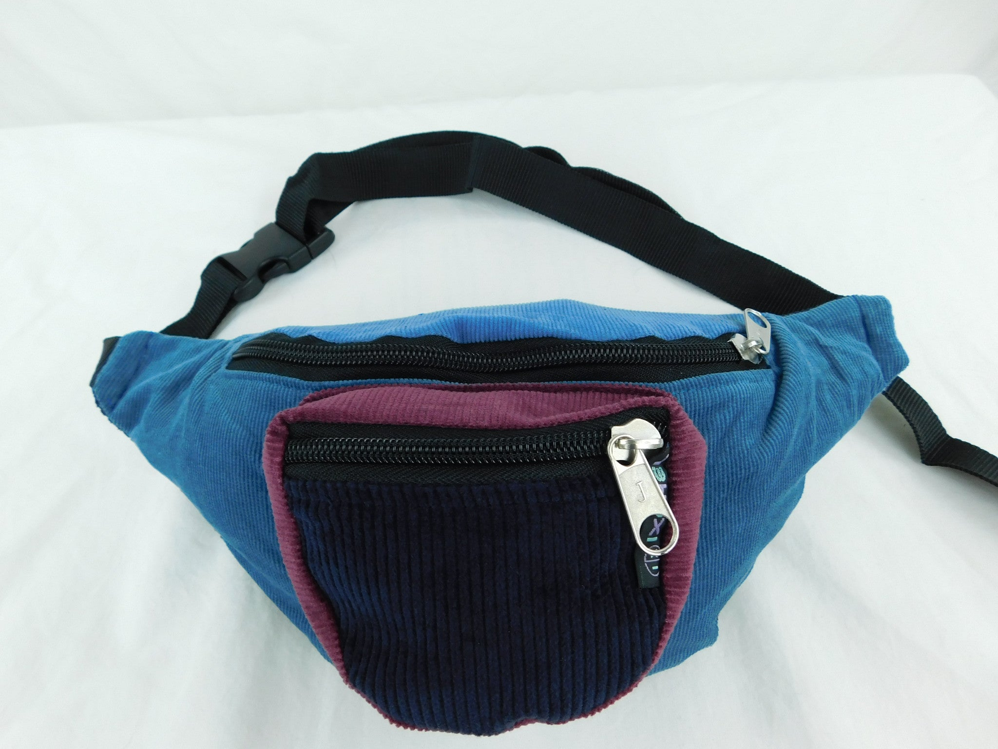 Patchwork corduroy waist pack with three pockets