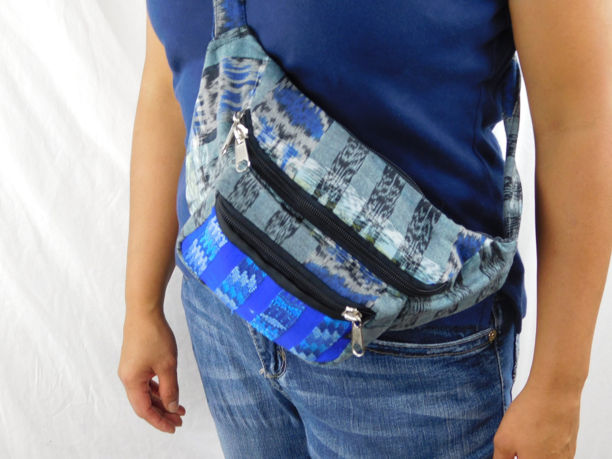 Extra large 3 pocket waist pack in hand woven cotton