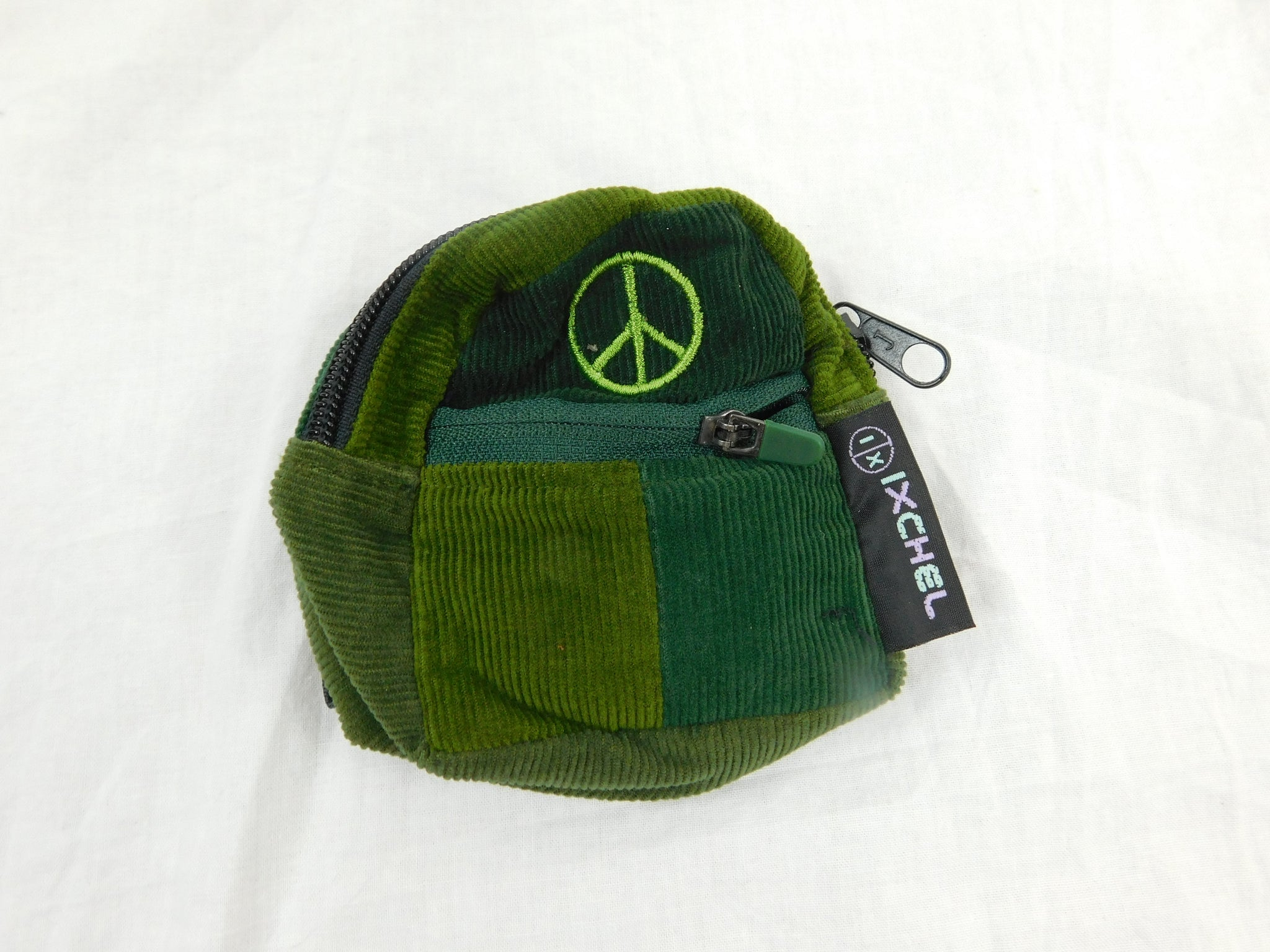 patctchwork corduroy micro Backpack with peace sign Embroidery