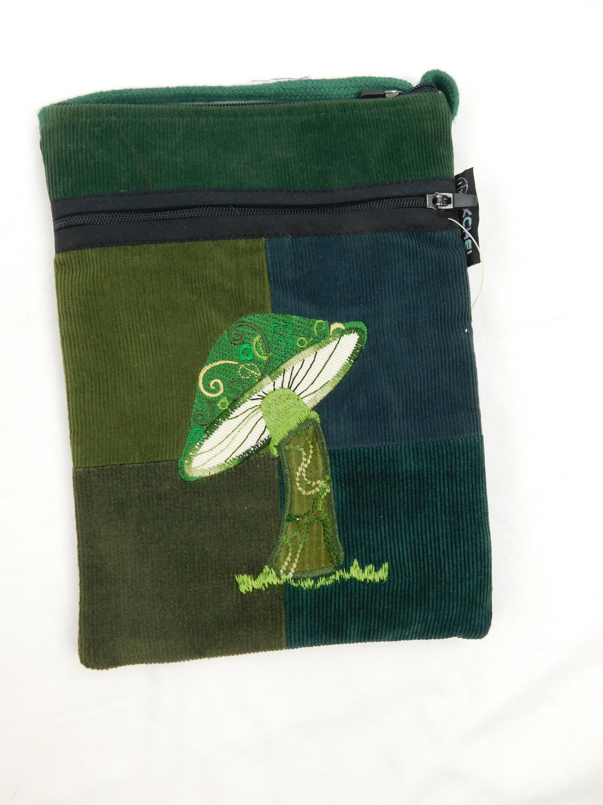 Passport purse in patchwork corduroy with mushroom embroidery
