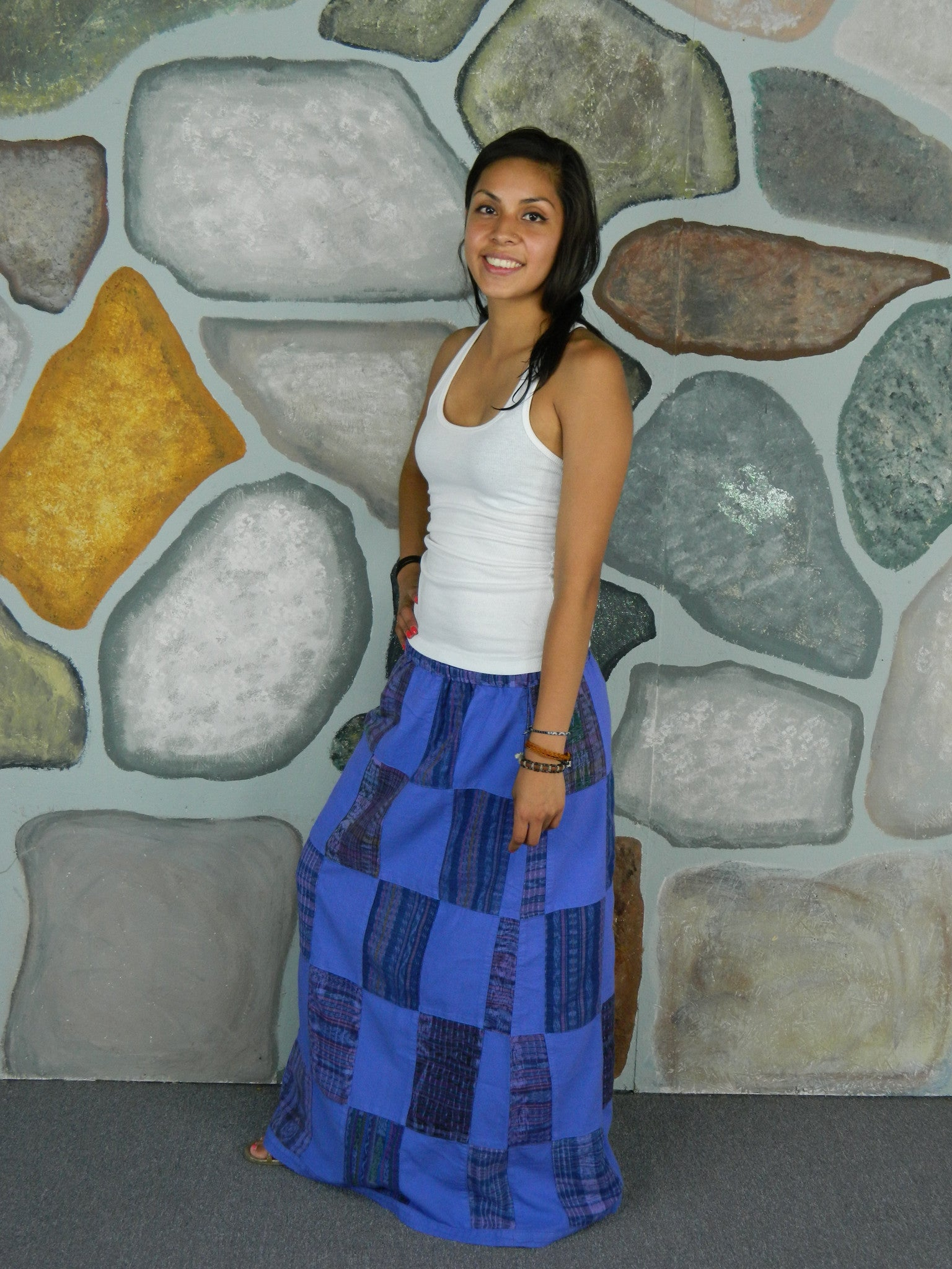Garment-Dyed Patchwork Skirt