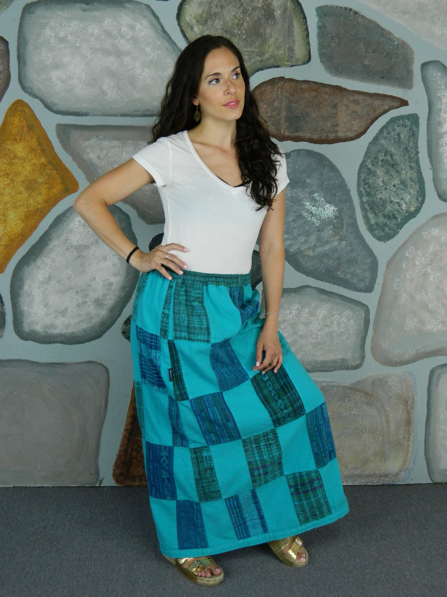 e416dc6ca7 Garment-Dyed Patchwork Skirt | Ixchel, Inc. - Handmade Apparel and ...