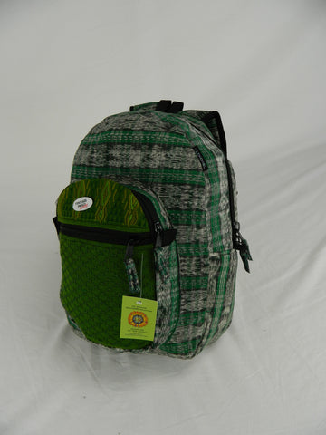 Hand-Woven Backpack with Hand-Brocaded Accents (Medium)