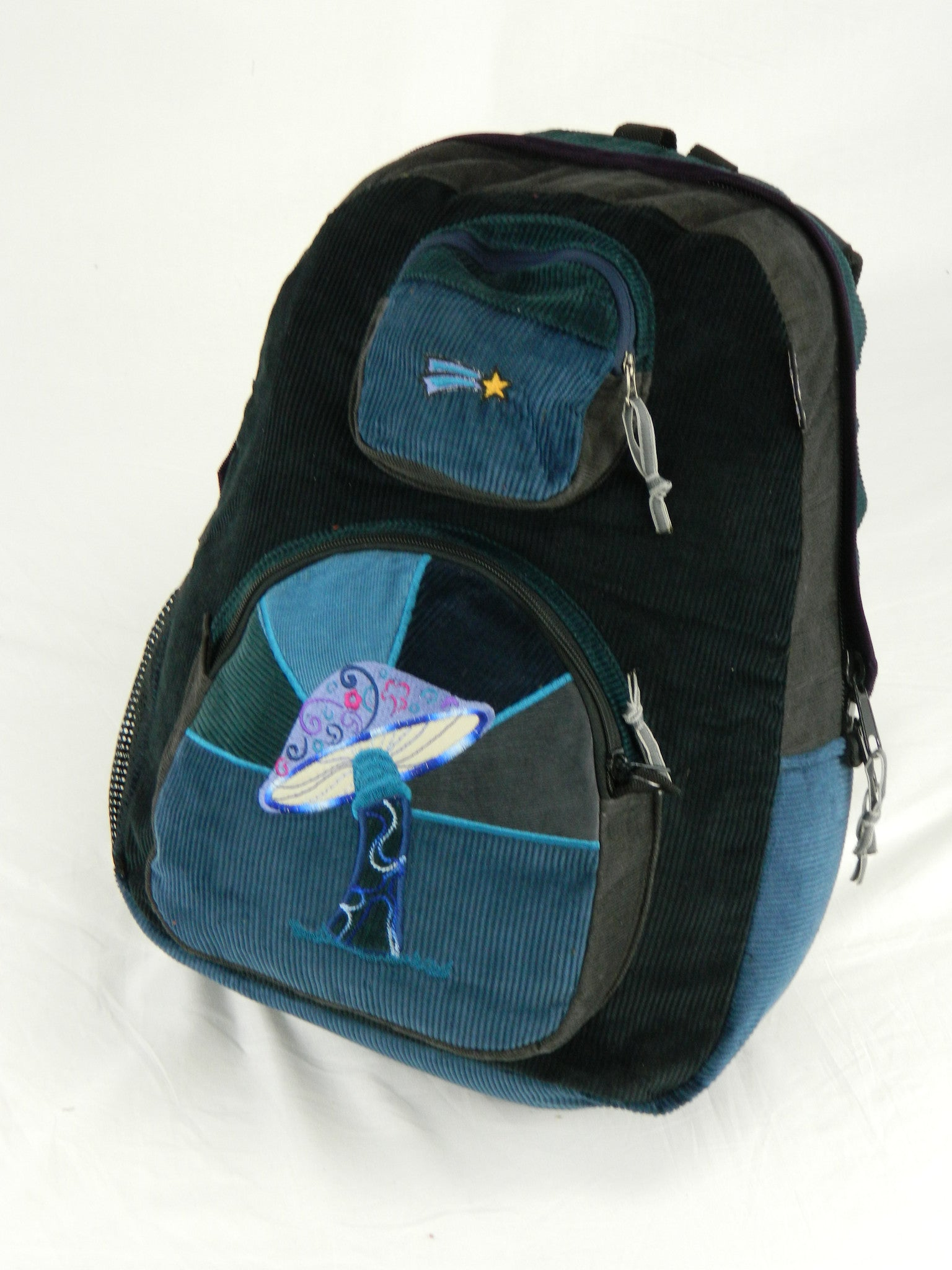 Patchwork Corduroy Backpack with Mushroom Applique (Large)