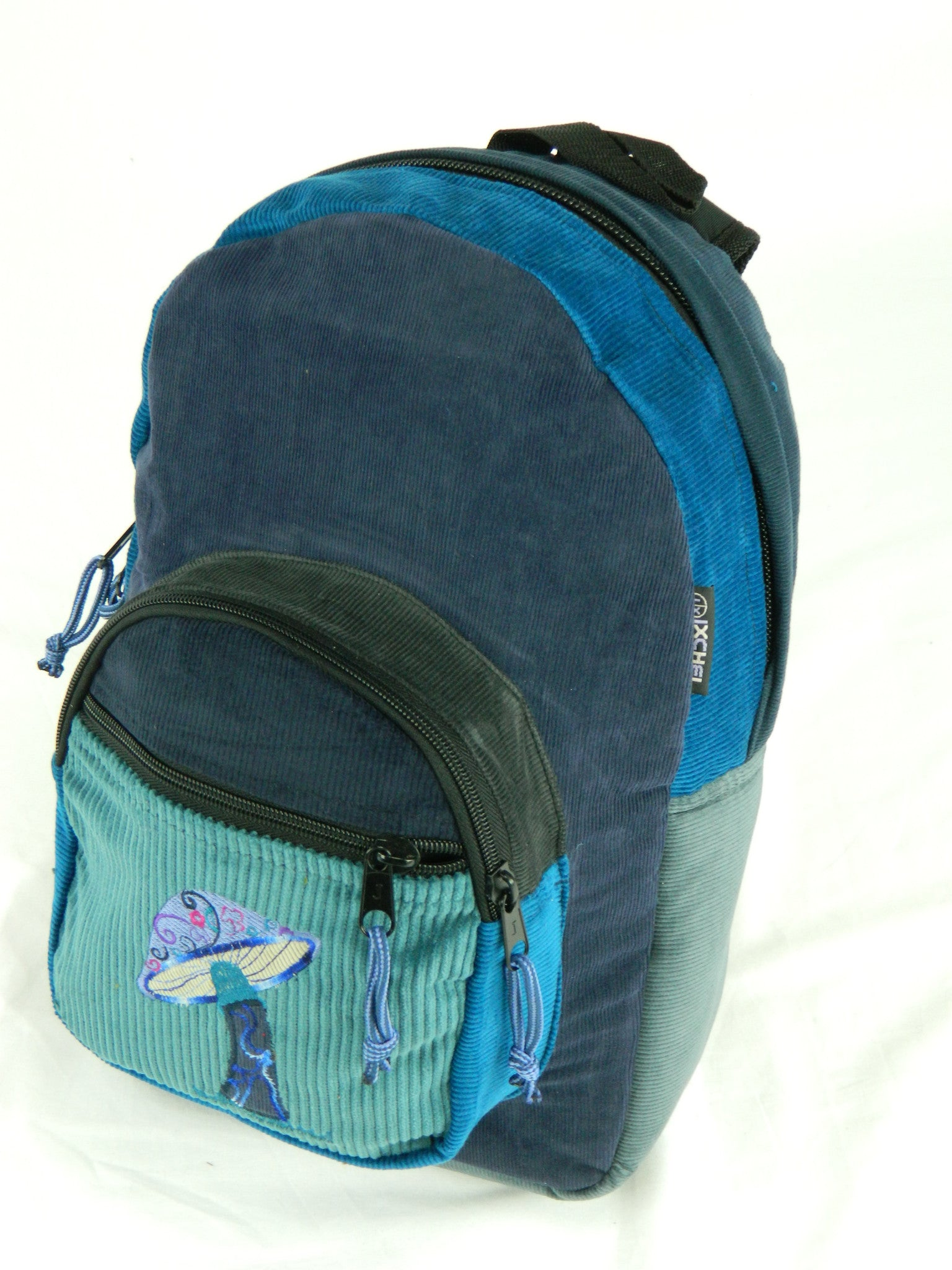 Corduroy patch backpack mushroom embroidery medum blue