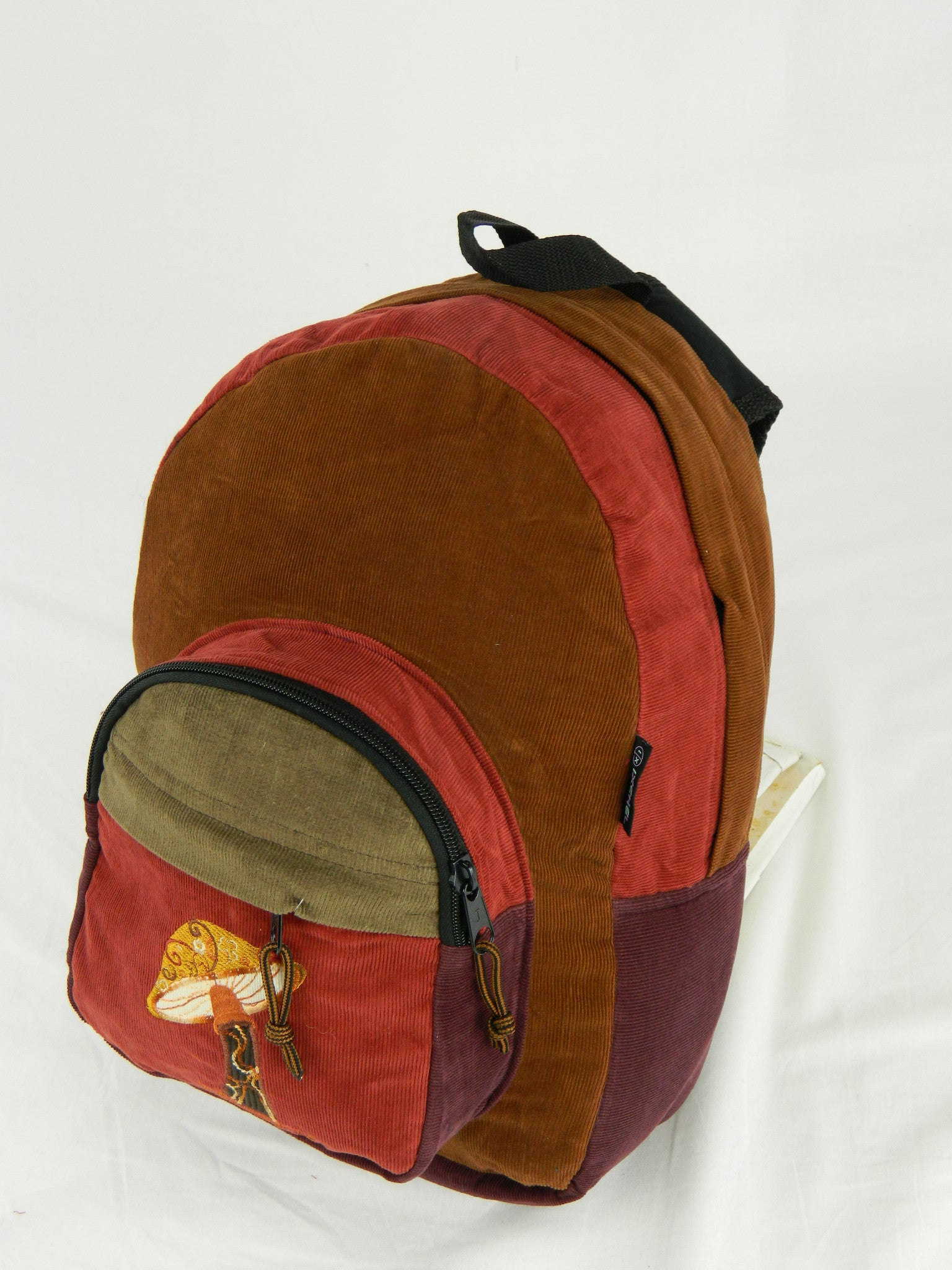 Corduroy patch backpack mushroom embroidery medum café