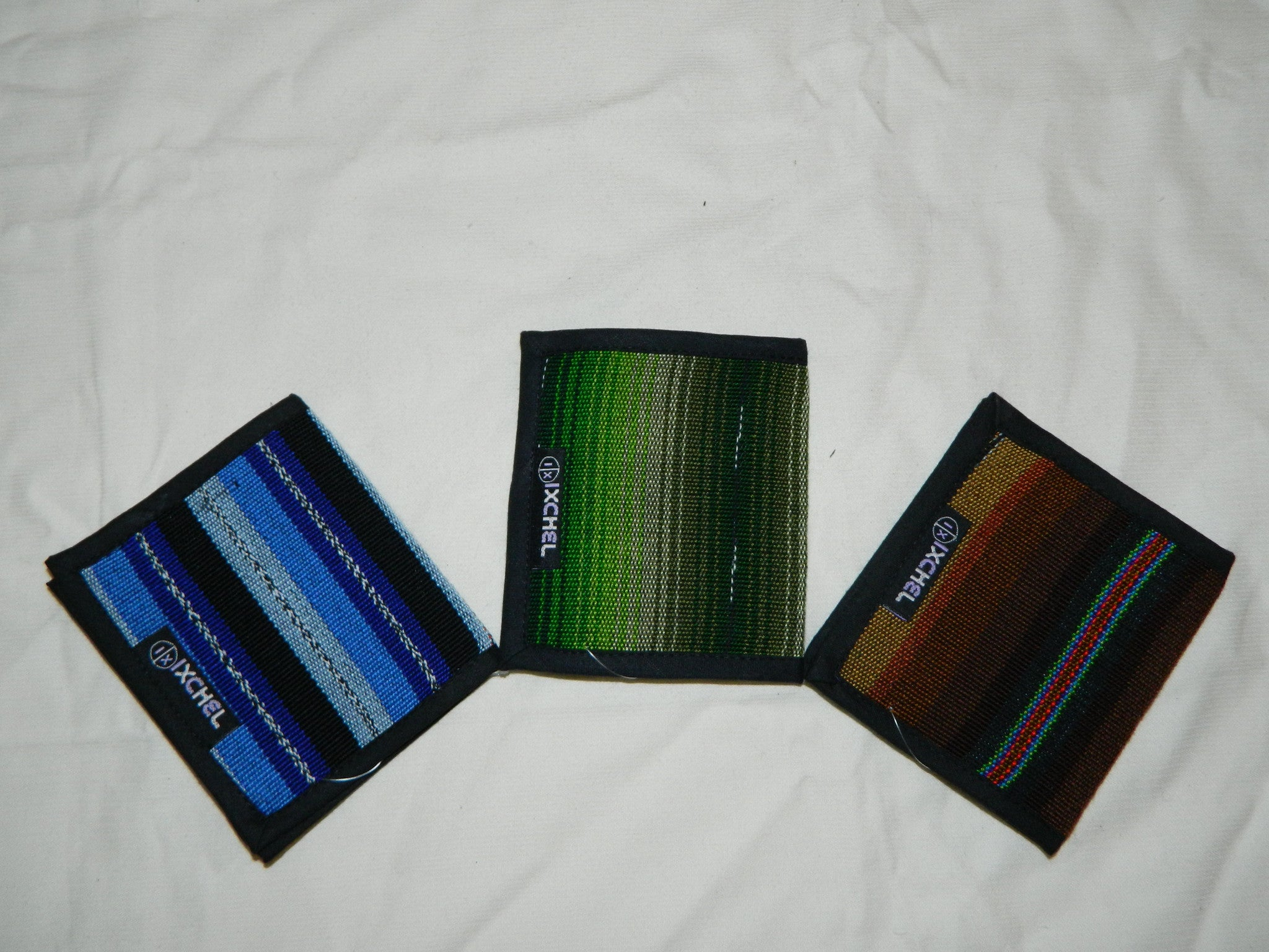 Blue, Green and Cafe 2-Fold Ikat Wallets