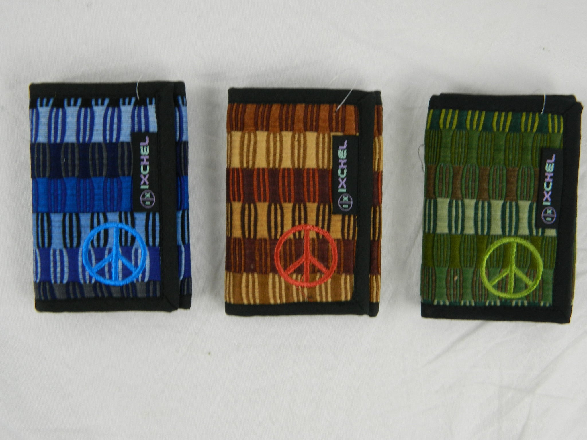 3-Fold Brocaded Wallet with Peace Sign Embroidery