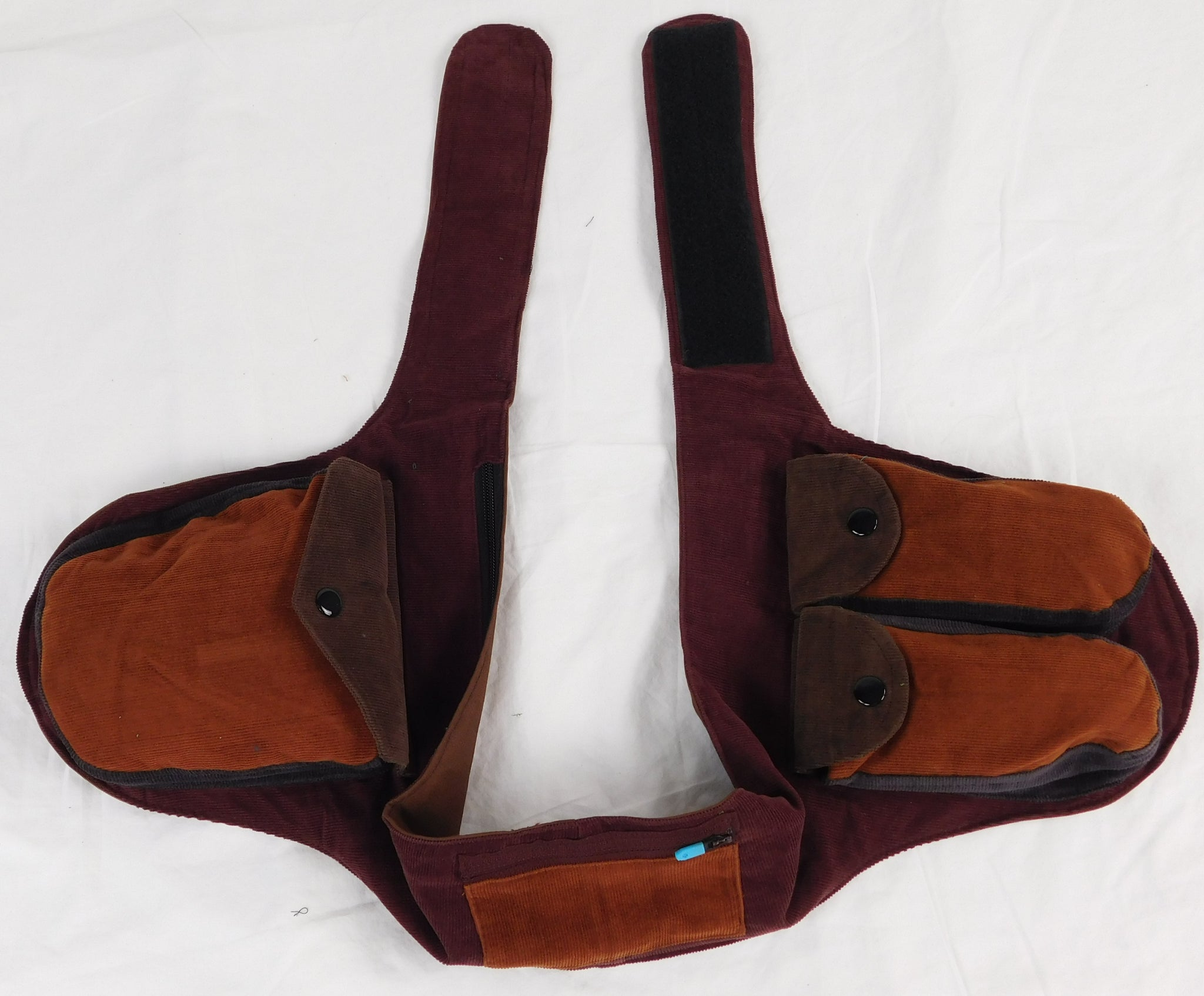 Patchwork multi pocket waist pack in Corduroy