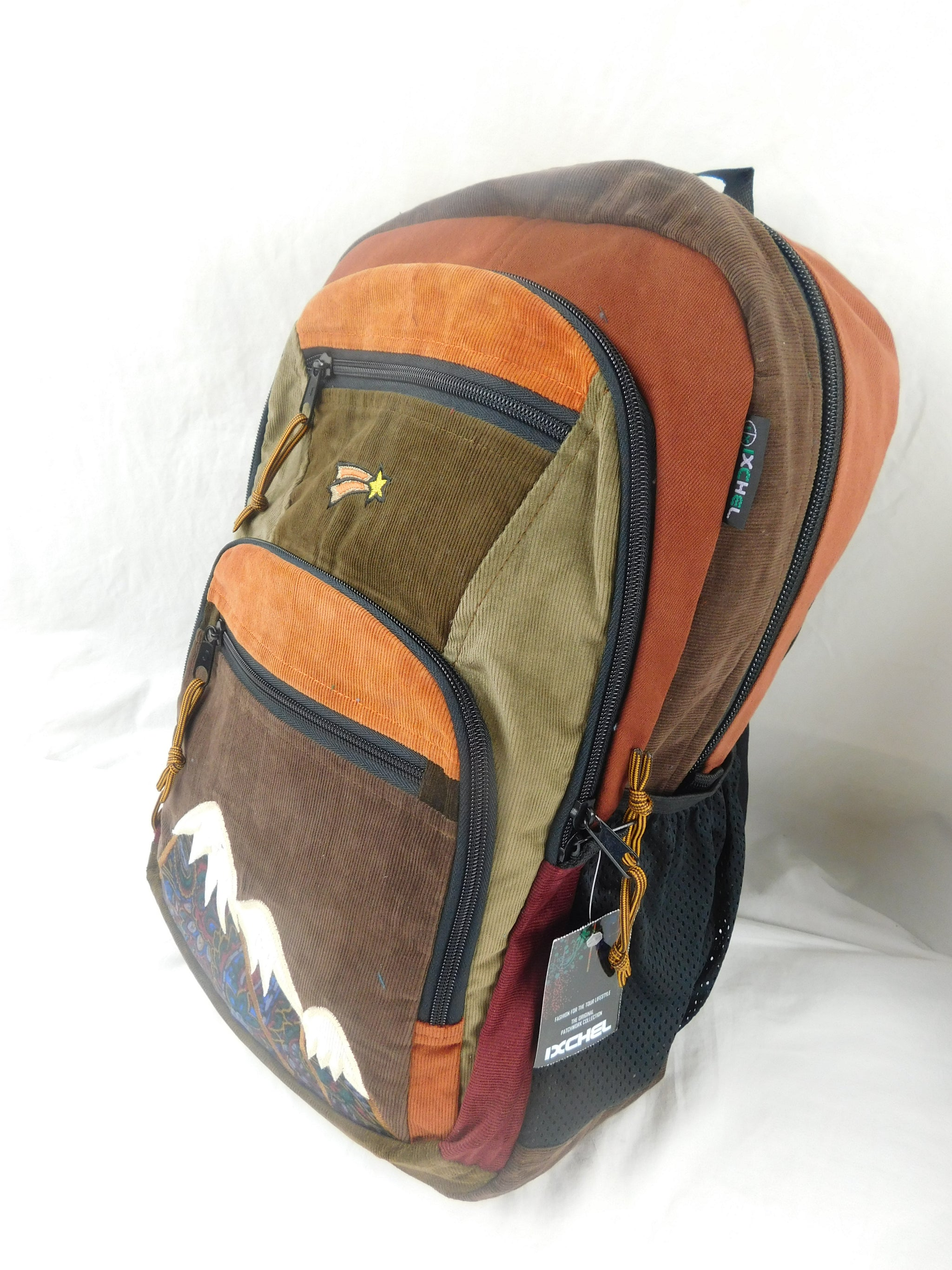 Patchwork Corduroy Backpack with Mountain Applique (Large)