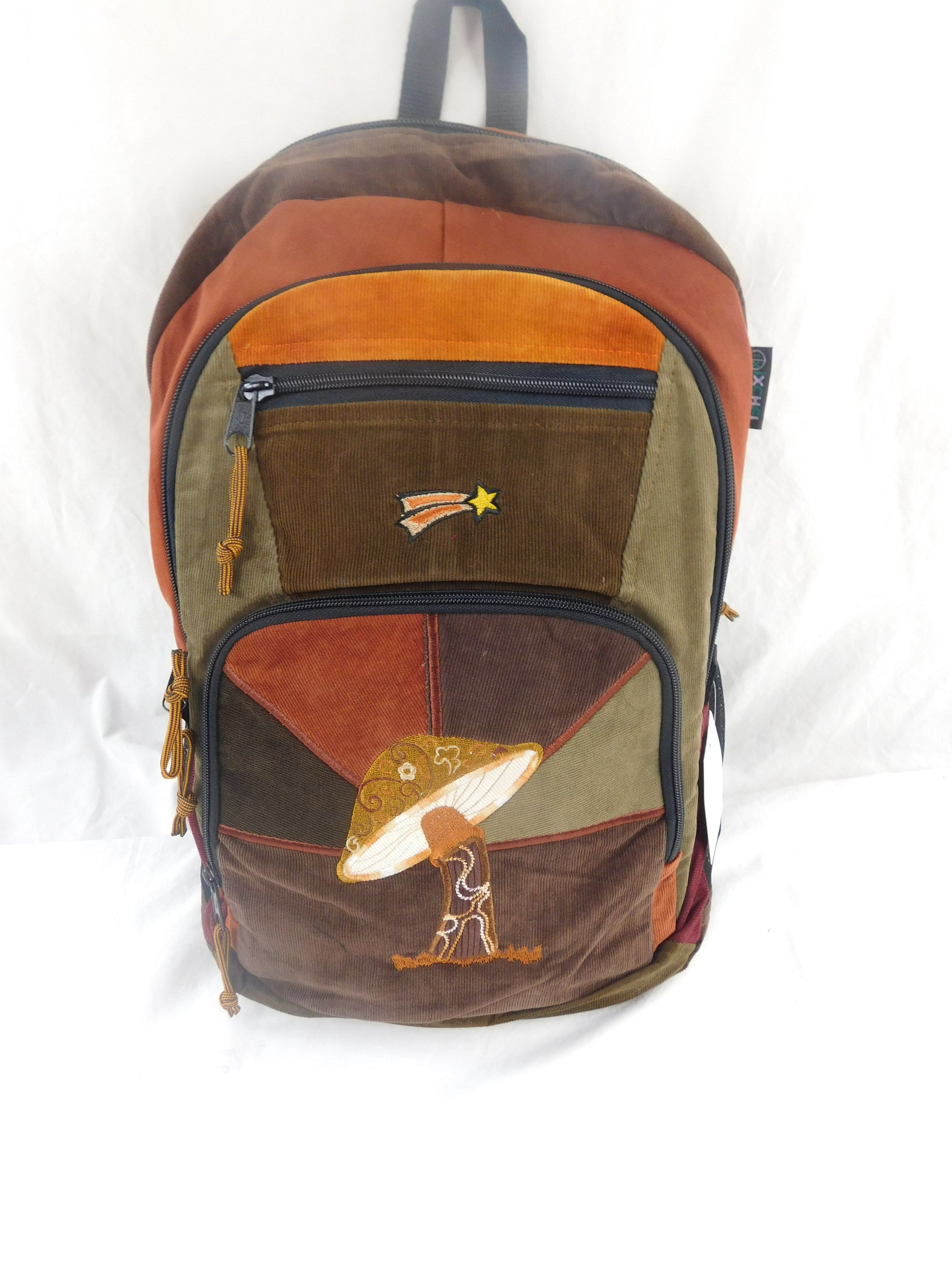 Patchwork Corduroy Backpack with Mushroom