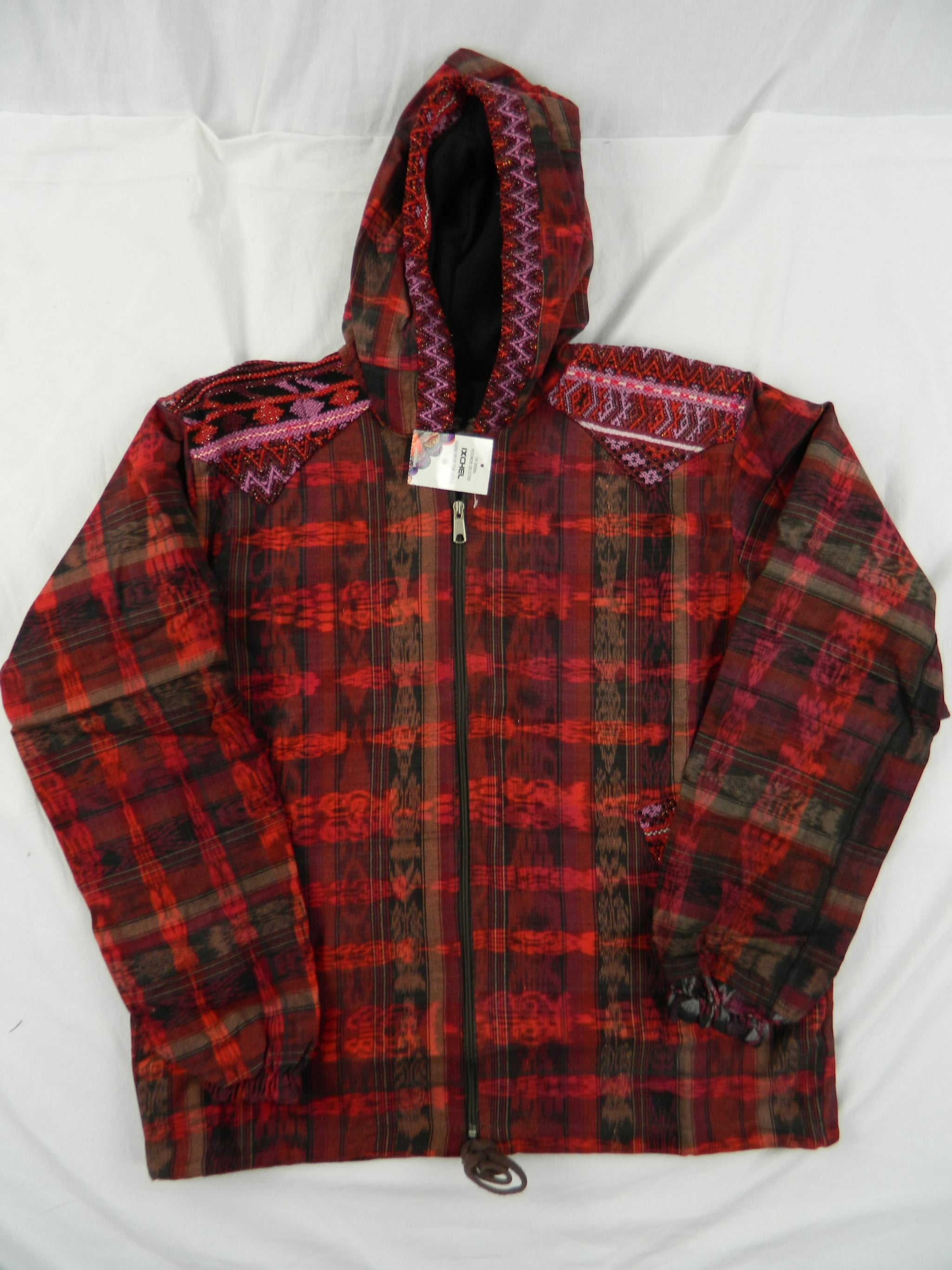 Hand-Woven Hooded Jacket with Hand-Brocaded Accents