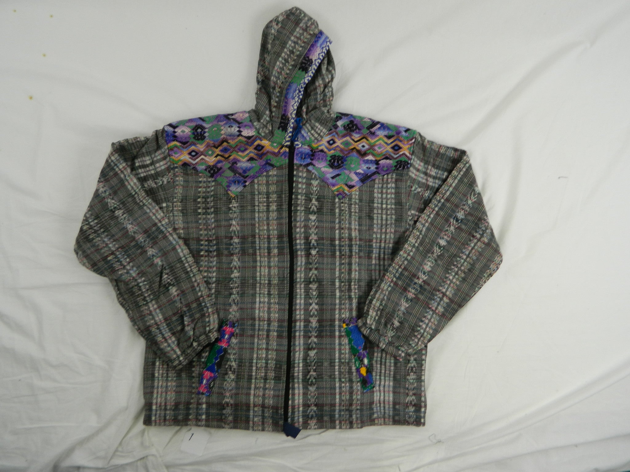 Fleece lined hand woven hooded jacket with hand brocaded trim