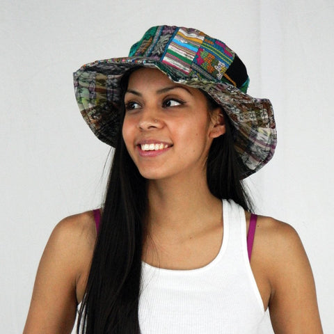 Patchwork hat in hand made fabric